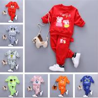 韩版童装卡通加绒套头卫衣套装批发阿里巴巴厂家直批地摊儿童服装
