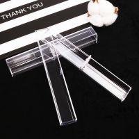 现货透明水晶笔盒圆珠笔钢笔水钻笔四方塑料笔盒长方形塑料笔套