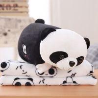 熊猫方枕头抱枕被子两用三合一珊瑚绒午睡毯子可折叠毛绒沙发靠枕