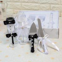 婚礼新郎新娘香槟交杯酒 婚庆高脚杯蛋糕刀四件套 结婚情侣礼品