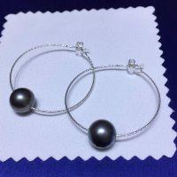 新款时尚百搭纯银大溪地黑珠耳环9-10毫米AAAAA天然珍珠耳饰饰