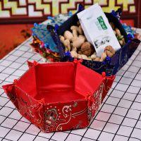 一件代发批发中国风织锦布艺家居工艺品盘扣可开合六角干果糖盒