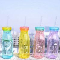 韩国家居批发 麦和 新款 创意生活塑料牛奶瓶 带盖带吸管水瓶
