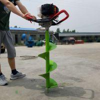 山林种树汽油挖坑机 四轮带动打坑机 大马力手持式汽油挖孔机