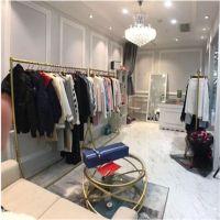 金色铁艺服装展示架简约现代男女装店货架挂衣架时尚服装架落地式