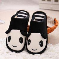 冬季新款韩版熊猫棉拖鞋卡通情侣拖鞋男女室内厚底毛加厚长绒拖鞋