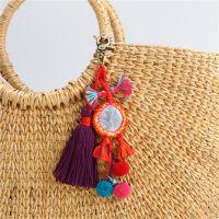新款欧美彩色波西米亚风流苏毛球包包配饰品钥匙扣挂件厂家直销