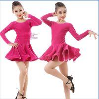 新款冬季儿童拉丁舞服装少儿女童拉丁舞裙规定服演出比赛服金丝绒