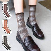 秋冬堆堆袜纯棉英伦风中筒袜女士复古卷边袜子小清新方格长款棉袜