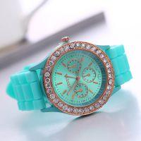 现货供应日内瓦geneva镶钻硅胶手表 女士硅胶手表 15种色任选