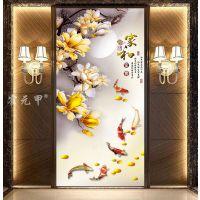霍元甲瓷砖 现代简约高清客厅背景墙高清彩雕玉兰鲤鱼家和富贵