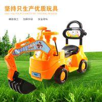 儿童挖土机可坐可骑挖掘机带音乐宝宝挖机玩具四轮工程车滑行车