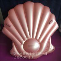 玫瑰金美人鱼扇贝壳水上漂浮充气贝壳坐骑游泳装备