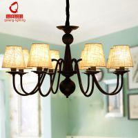 美式乡村田园吊灯现代简约客厅灯布艺主次卧室灯餐厅灯具一件代发