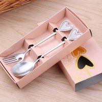 不锈钢餐具叉子勺子两件套创意爱心水果叉汤勺便携礼品餐具套装