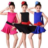儿童拉丁舞演出服装女童练功服短袖舞蹈裙幼儿舞蹈练功服表演服