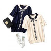 18夏季新品 俏皮减龄 领口条纹蝴蝶结飘带 舒适冰丝针织短袖T恤女