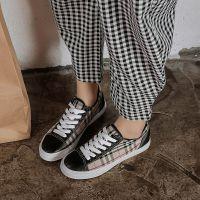 明星同款韩版女鞋 千鸟格纹板鞋 运动休闲鞋WISH速卖通亚马逊货源