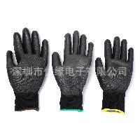 一包6对黑绿色尼龙针织PU涂掌手套 工作手套 S/M/L码各2双