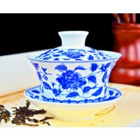 手绘陶瓷盖碗 4.5寸三才茶杯定制