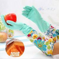 绿色碎花洗碗手套 束口加绒家务手套 接袖橡胶洗衣保暖手套SH