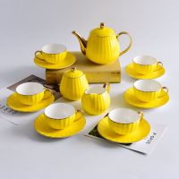 唐山唯奥骨瓷工厂批发陶瓷咖啡杯碟套装 骨瓷南瓜杯碟 定制咖啡具套 批发咖啡杯