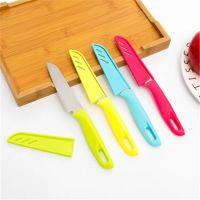 TY水果刀糖果色不锈钢瓜果削皮刀 带刀套 厨房小工具 便携刀子