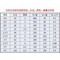全新料PE白塑料盘管规格、直径、厚度、重量对照表