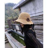 韩版女帽手工草编复古钩针玉米花大沿草帽遮阳帽子女渔夫帽