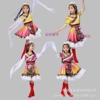 新款儿童藏族舞蹈服装夏季女蒙古族水袖短裙演出服成人女童民族服