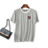 18夏季新品 上身小清新 钉珠爱心贴布 舒适纯棉圆领短袖条纹T恤女