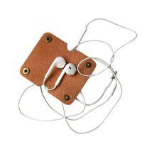 新款创意扣钮牛皮缠线器 植鞣皮数据线耳机绕线器数码配件