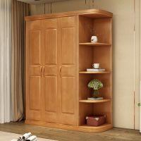 中式实木衣柜 三四五六门大容量整体衣橱 橡胶木衣柜加顶组合家具