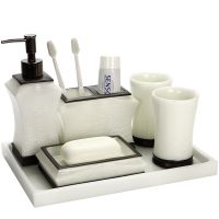 Amojoy树脂卫浴五件套 欧式漱口杯洗漱套装 浴室用品卫生间牙刷杯