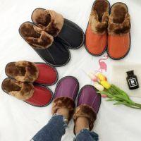 真皮棉拖鞋冬季牛筋底棉拖 牛皮室内鞋男女士家居拖鞋加厚保暖