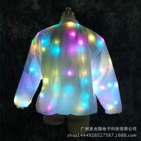 抖音同款LED发光衣服休闲外套情侣装棒球服七彩夜店酒吧厂家直销