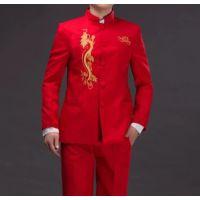 新郎男士秀禾服中式结婚礼服红色中山装唐装古装敬酒服春夏季长袖