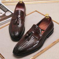 厂家批发新款秋季男式商务真皮编织皮鞋男套脚低帮男士休闲单鞋子