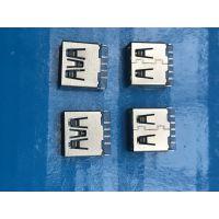 USB AF 4Pin 母座 超短体 焊线式 无固定脚 蓝色胶芯 直边 USB A母 插座 连接器