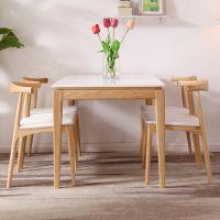 火烧石餐桌北欧实木大理石餐桌椅组合小户型长方形吃饭桌现代餐台