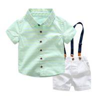 童套装一件代发 2018男童韩版休闲套装格子衬衫背带裤两件套爆款