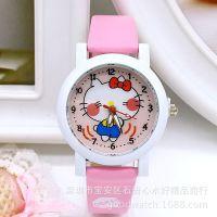 最新儿童HELLO KITTY皮带手表 KT猫学生女款石英手表
