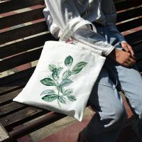 手绘叶子帆布包定制数码印花手提袋小清新女单肩包文艺学生装书包