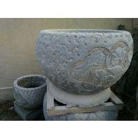 仿古做旧石花盆|圆形雕荷花石缸  厂家直销