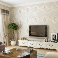 现代简约仿软包菱格鹿皮绒无纺布壁纸3D加厚浮雕卧室客厅背景墙纸