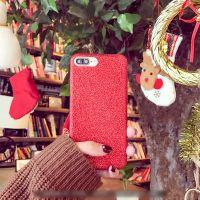 iPhone6s手机壳 苹果7plus日韩纯色软硅胶闪粉碳纤维保护壳i6女款