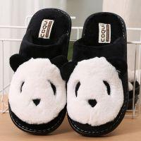 一件代发酷趣熊猫毛绒棉拖鞋 冬季女居家布艺拖鞋 2018秋冬棉拖鞋