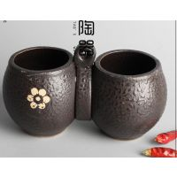 陶瓷连体黑色调味罐调味盒瓶调料罐盒瓶盐罐连体厨房用品用具包邮