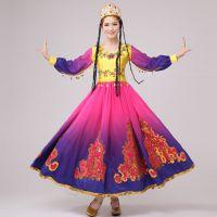 新疆舞蹈服成人维吾尔族演出服少数民族舞蹈表演服装女新款大摆裙