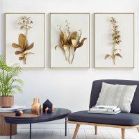 jsh金枝美式装饰画客厅挂画金色植物花卉壁画沙发背景墙芳华简约